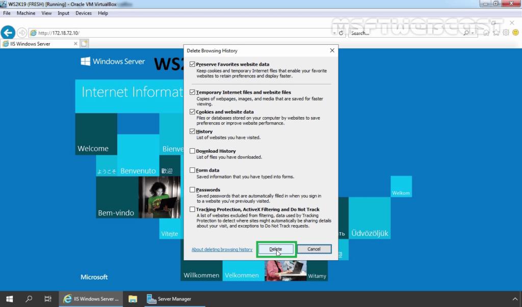 30. Delete Web Browsing History