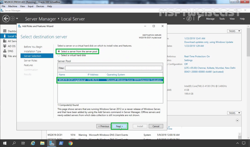 4. Select local server for server for NFS role service installation