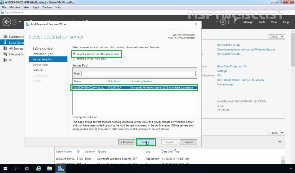 4. Select server from server pool to install NLB