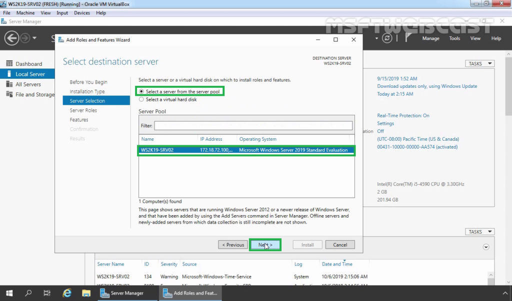 4. select local server on which you want to configure NAT
