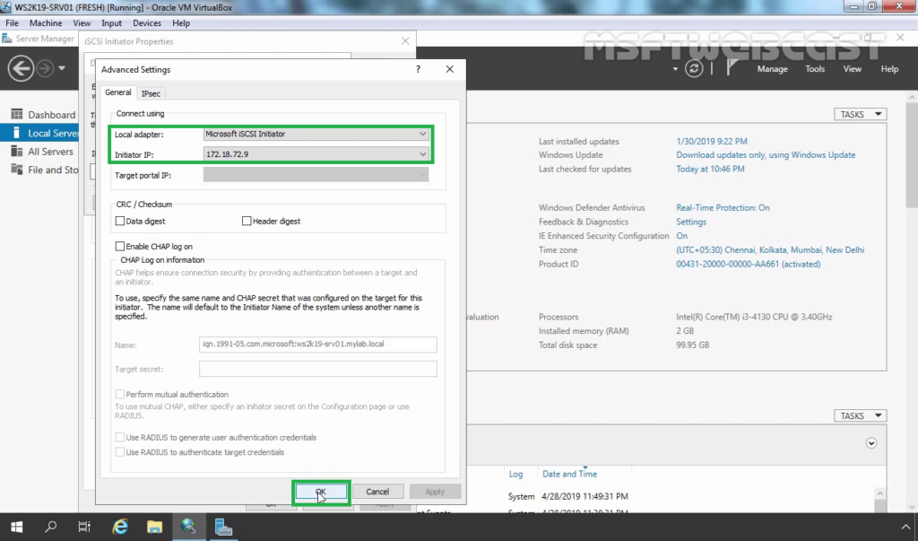 5. Choose Initiator IP