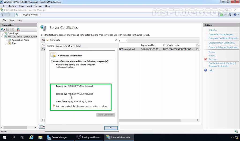 5. Double Click on Certificate to view Properties