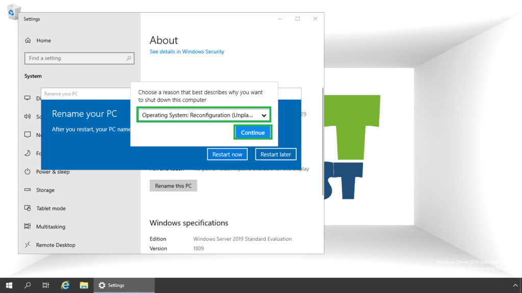 5. select the reason to restart the server 2019