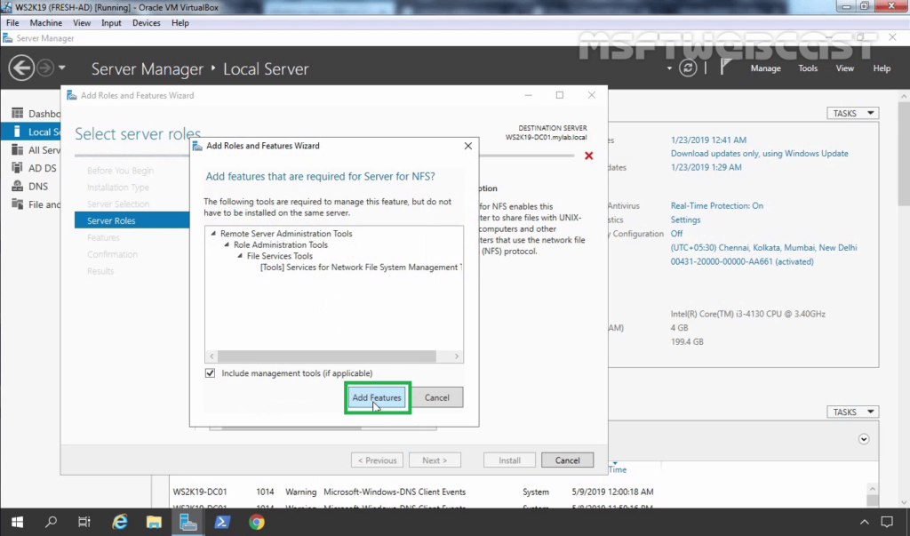 6. Click on Add Features to add required feature for NFS server