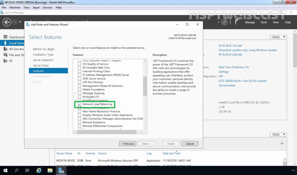 6. Select Network Load Balancing Feature checkbox