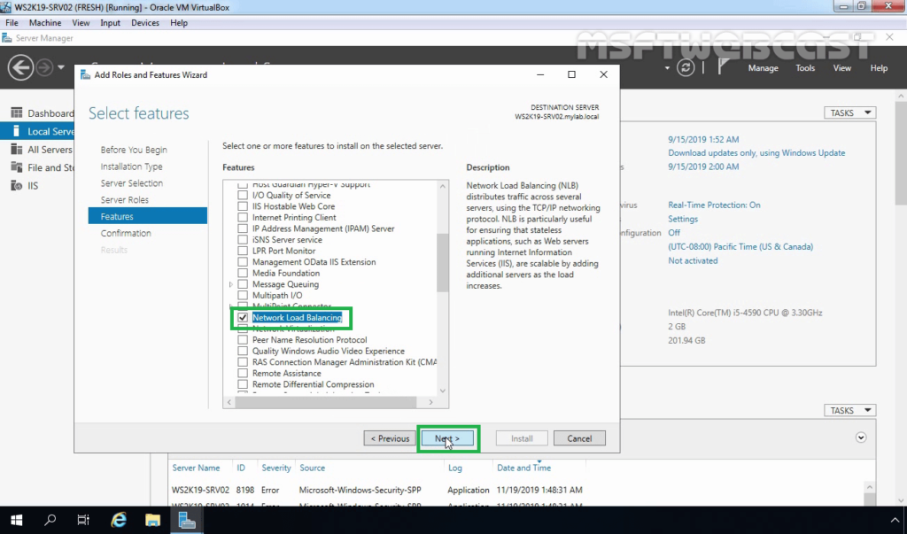 8. Make Sure NLB feature is selected