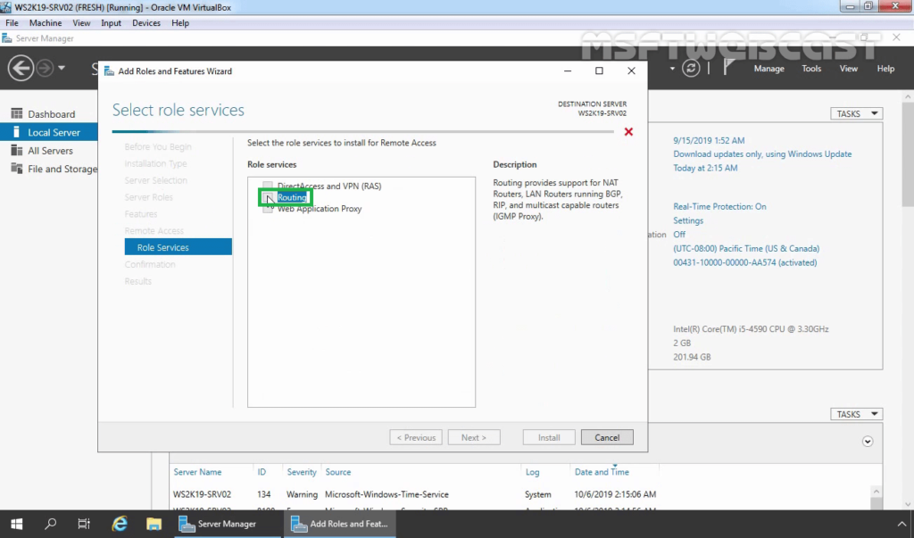 8. select routing role service