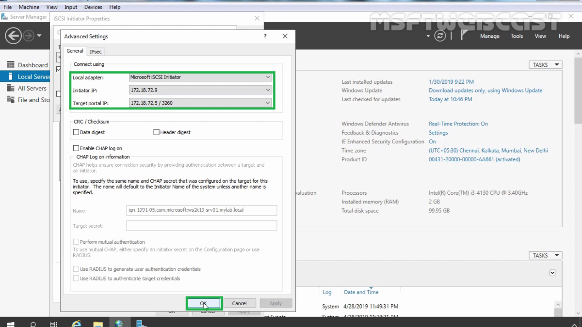 Configure iSCSI initiator in Windows Server 2019