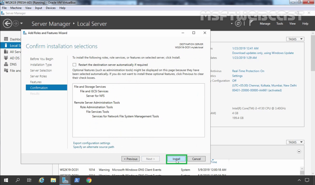 9. Click on Install to start NFS role Installation Process