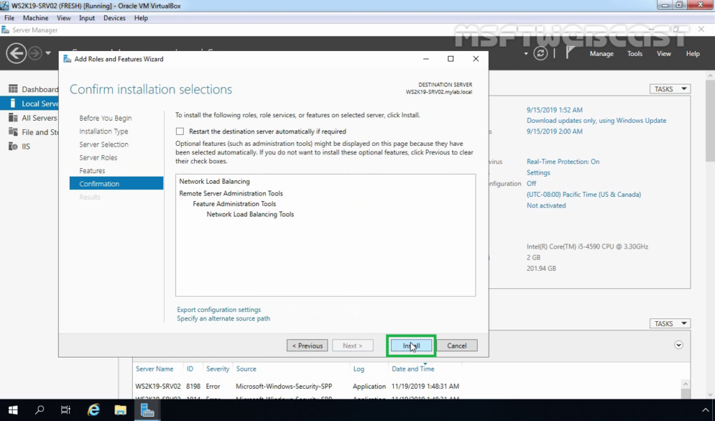 9. Click on Install to start NLB feature Installation