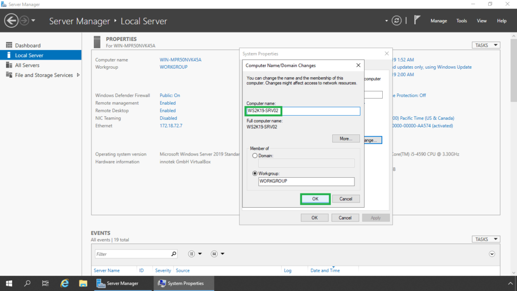 9. type a new server name and click ok