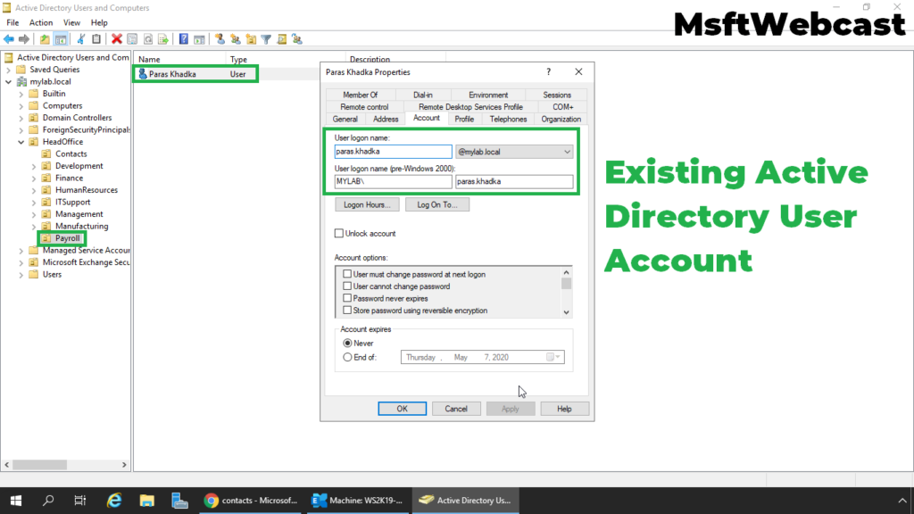 1. create a user account in Active Directory