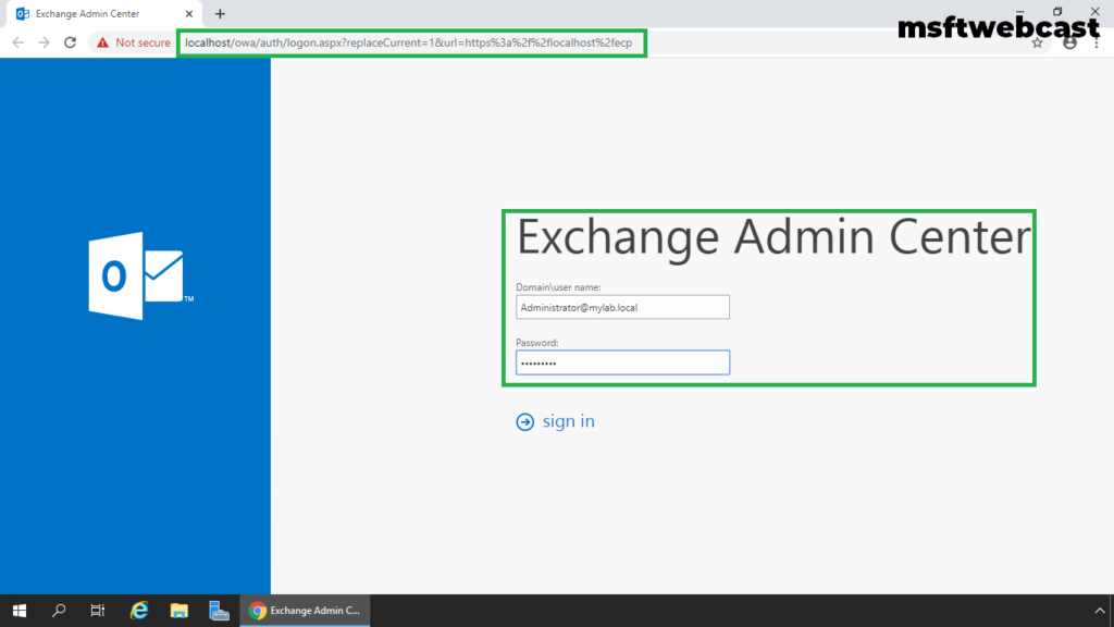 1. open exchange admin center