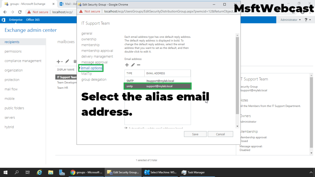 10. click on email option tab and select the alias address