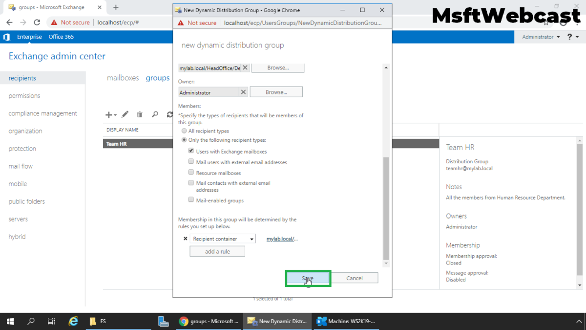 Create Dynamic Distribution Group in Exchange 2019