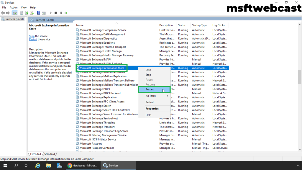 10. restart microsoft exchange information store service