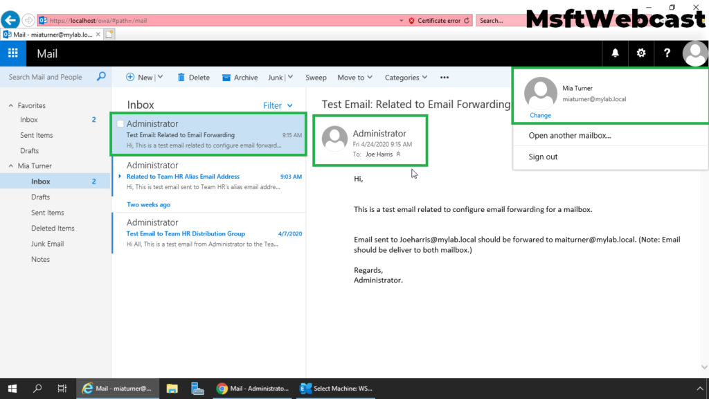 10. verify the recipient with mail forwarding