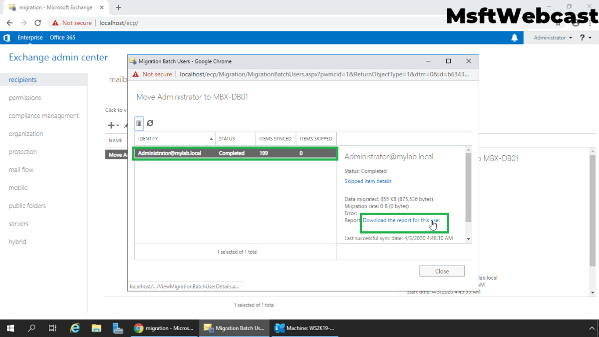 Move Mailbox from One Database to Other in Exchange 2019