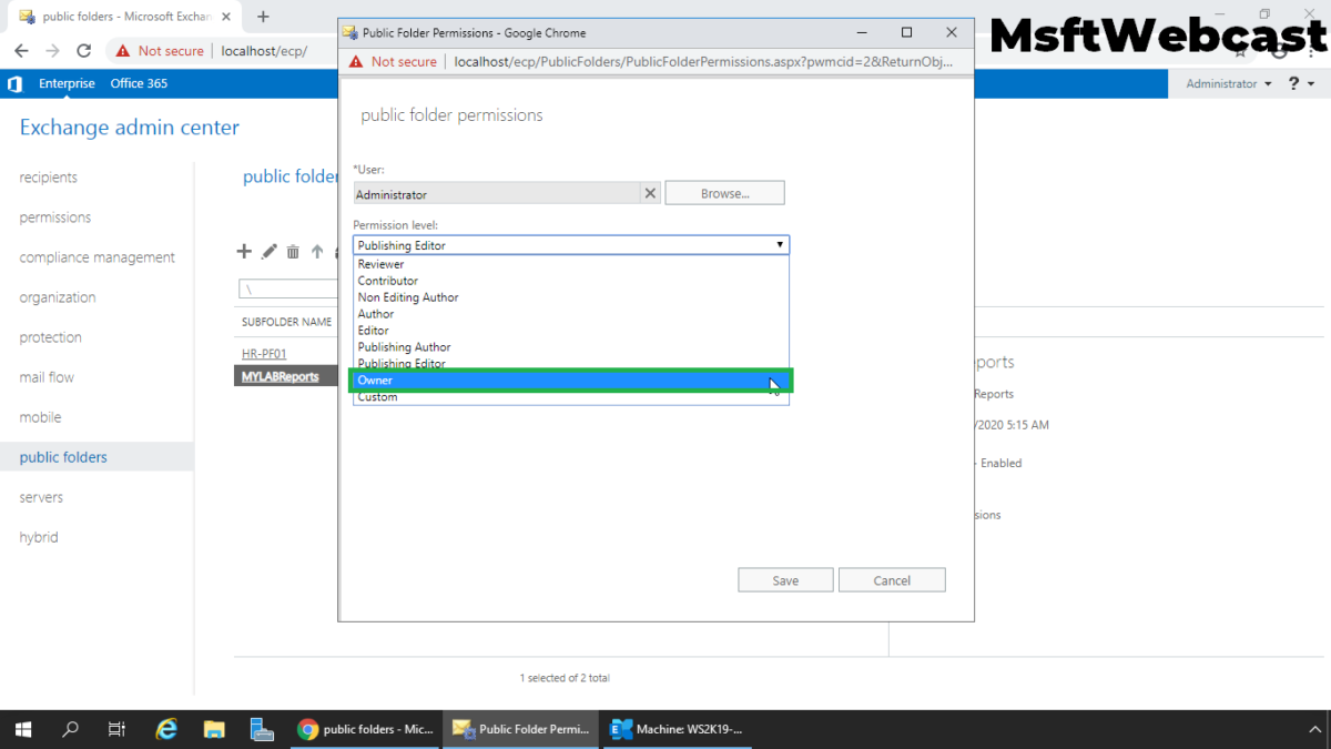 Create a Mail Enabled Public Folder in Exchange 2019