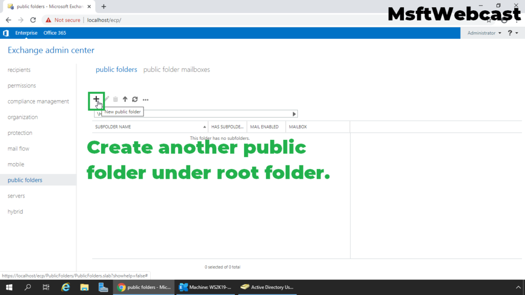 13. click on plus sign to create new public folder