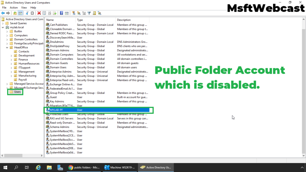 16. verify the public folder mailbox account in Active Directory