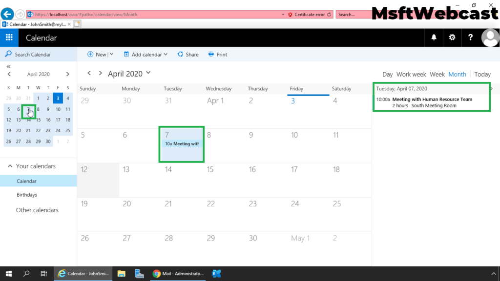 19. verify schedule meeting in calendar