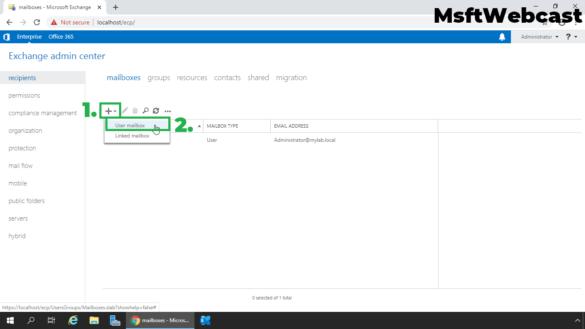 2. create a new user mailbox