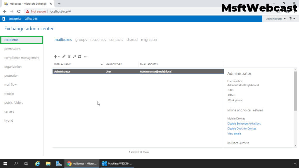2. open Exchange Admin Center