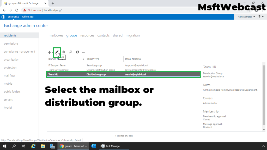2. select the mailbox or distribution group