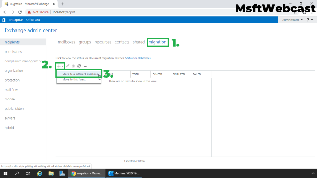 3. click on migration tab