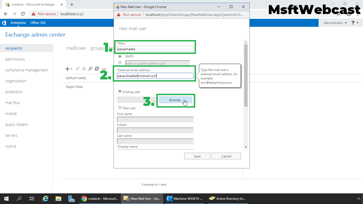 Create Mail Enabled User in Exchange 2019