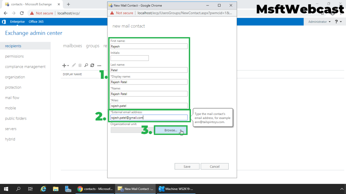 Create Mail Enabled Contact in Exchange 2019
