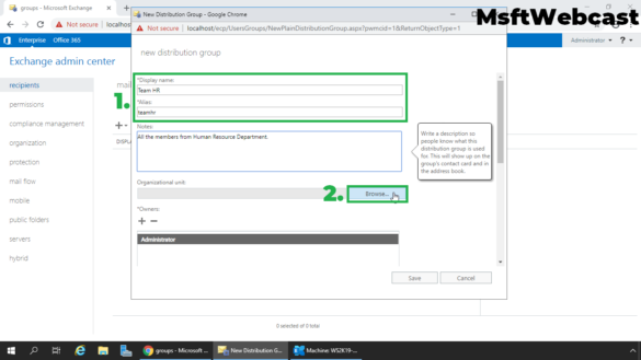 3. specify group name and click on browse