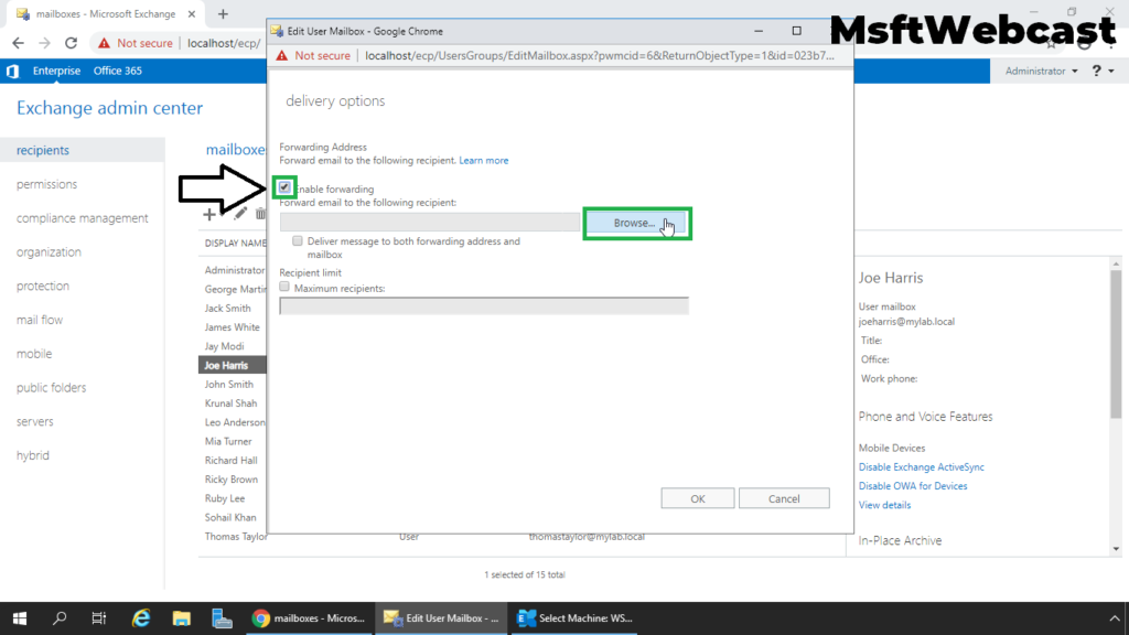 4. select enable mail forwarding