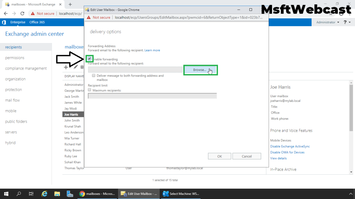 Configure Email Forwarding for a Mailbox Exchange 2019