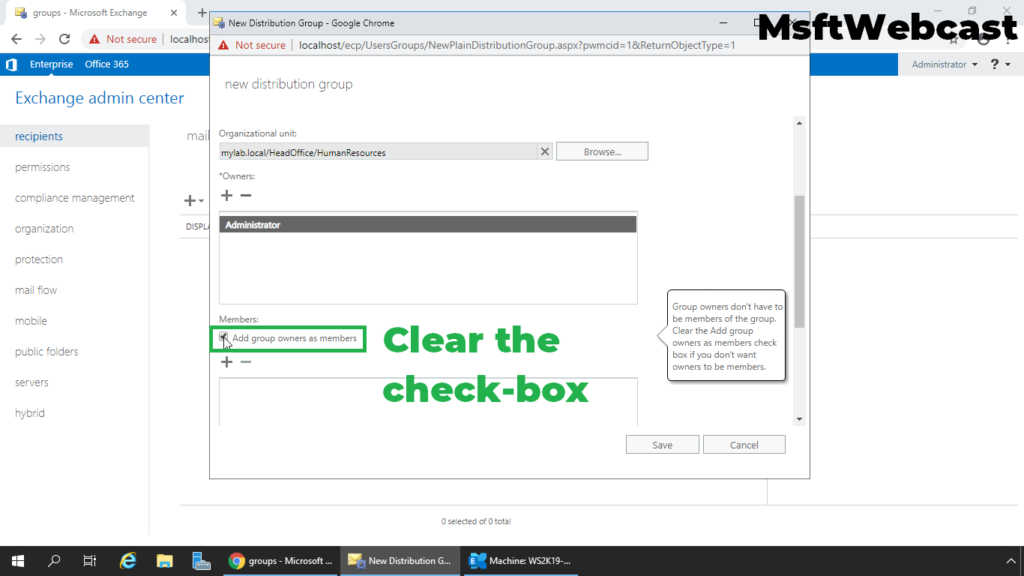 5. clear the check-box add owner as a group member