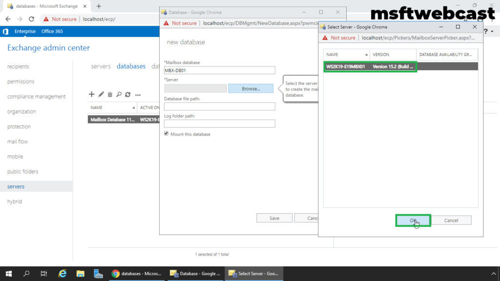 5. select mailbox server to store database