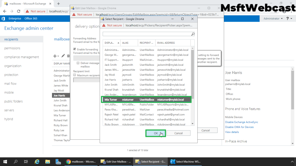 5. select the recipient mailbox for mail forwarding