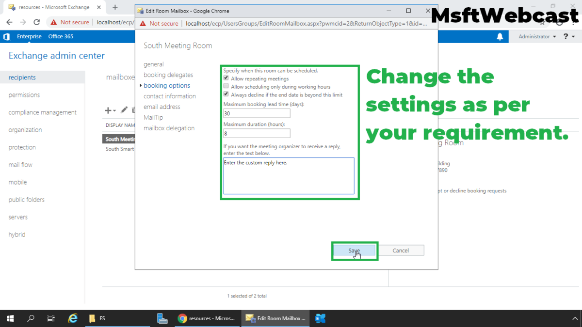 Manage and Book Room Mailbox in Exchange Server 2019