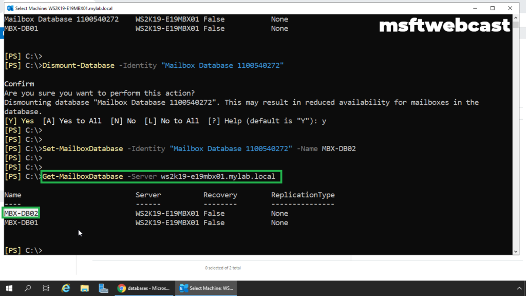 6. get the list of mailbox database