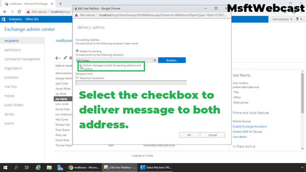 6. select deliver message to both recipients checkbox