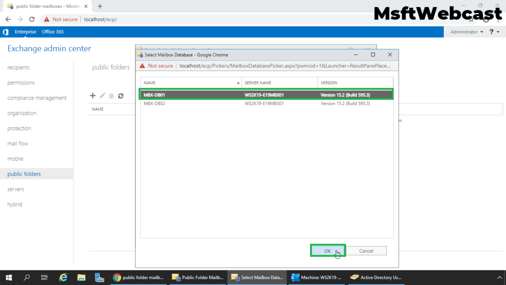 6. select the mailbox database and click ok