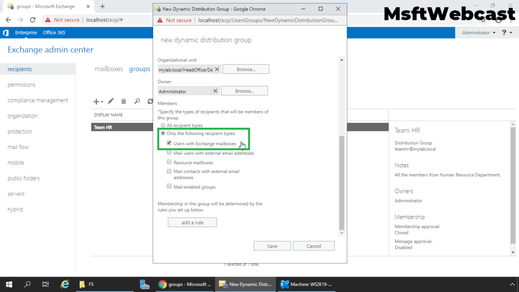 6. select users with mailbox in exchange as a members only