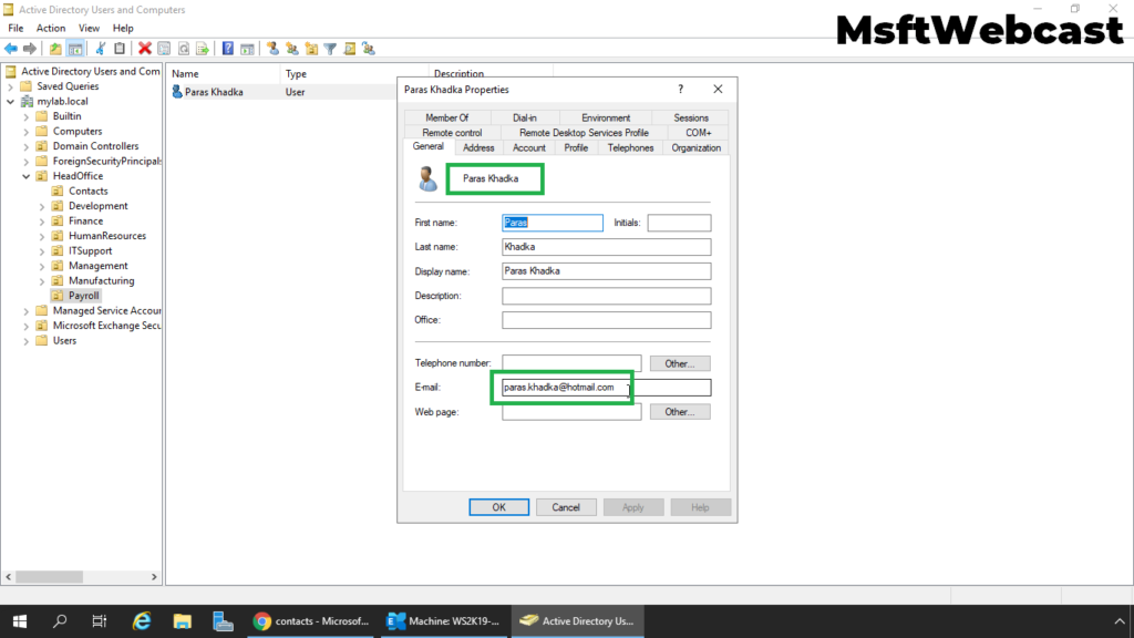 6. verify the mail-enabled user account in Active Directory
