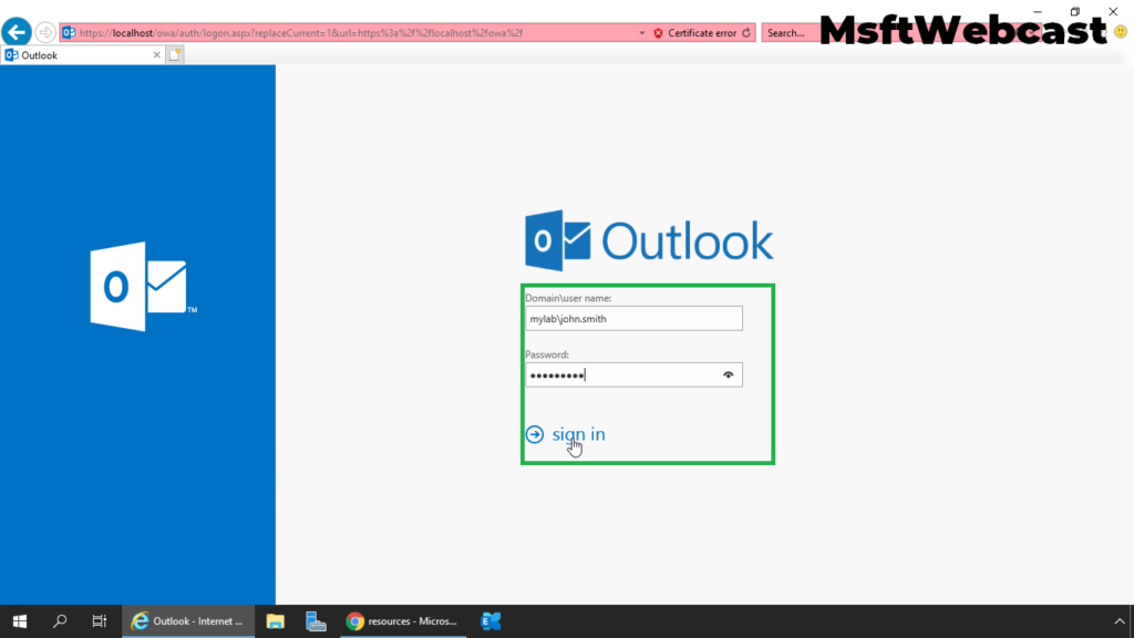 7. access outlook to book room mailbox