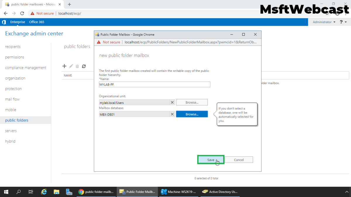 Create a Public Folder Mailbox in Exchange 2019