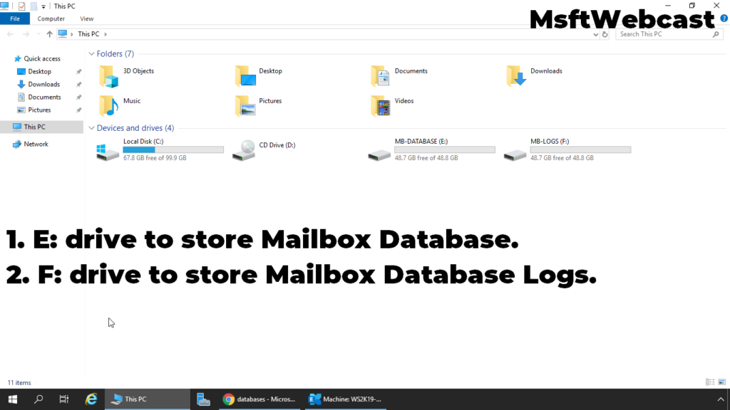 7. create separate partition for database and logs