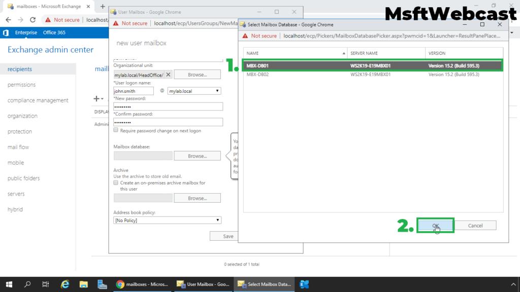 7. select mailbox database