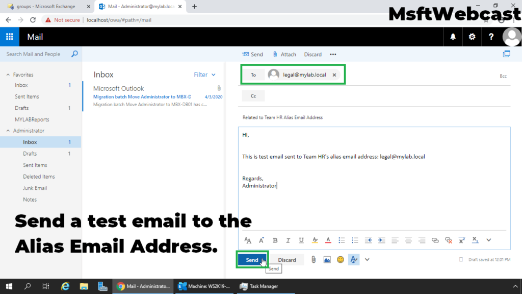 7. send a test email to the alias smtp address