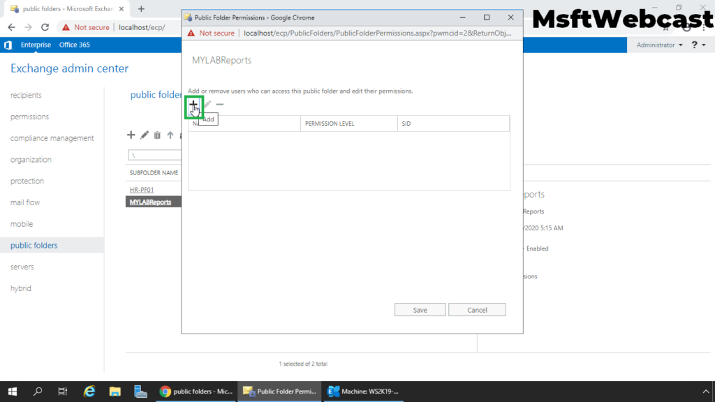9. click on plus sign to configure permission
